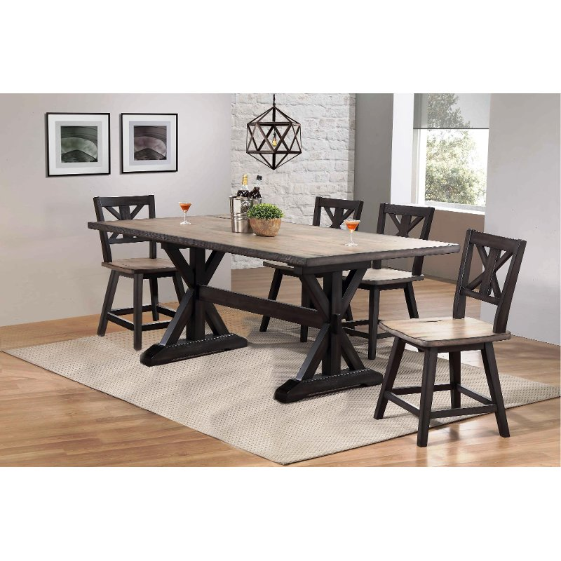 Farmhouse Sand And Black 5 Piece Dining Set Orlando Farmhouse Dining Room Dining Set With Bench Farmhouse Dining Table