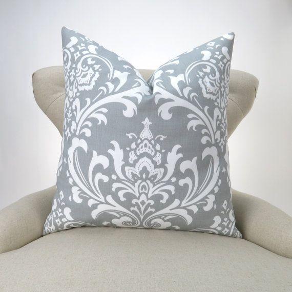 28X28 Pillow Insert Gray Damask Pillow Cover Many Sizes Ozborne Storm White Custom