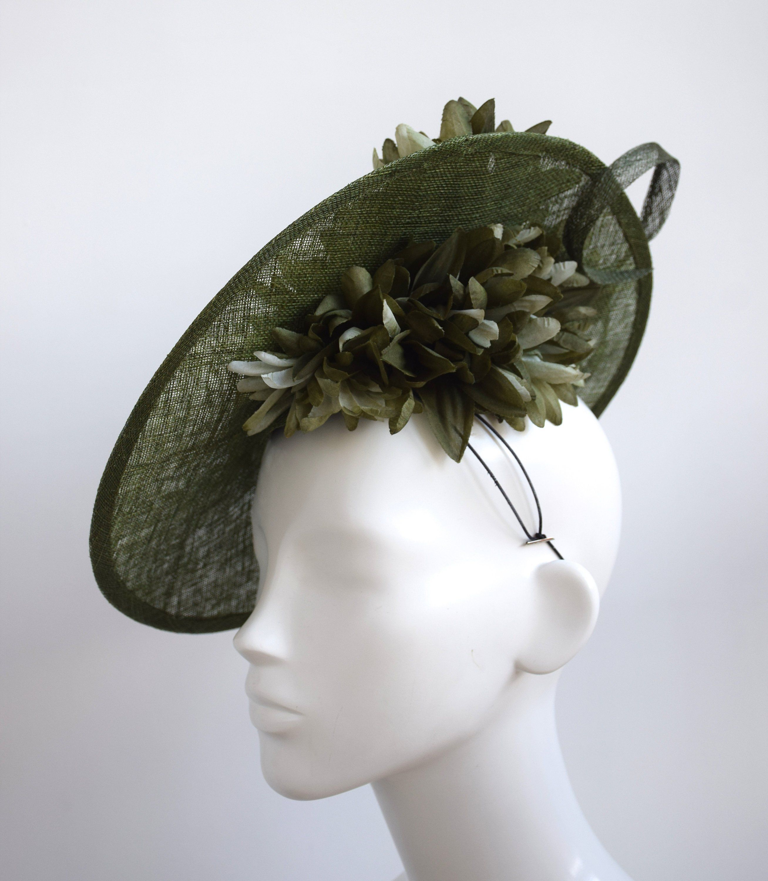 Olive Green Saucer Hat - Dark Deep Green Fascinator - Moss Green Wedding  Headpiece - Fern Green Fascinator - Large Race Day Fascinator by ... 18f58d51ed6