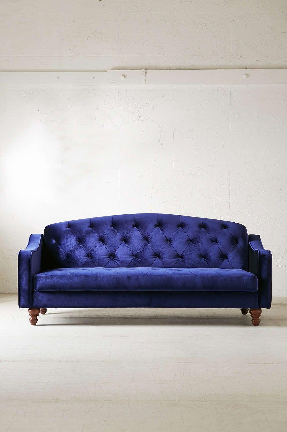 Ava Velvet Tufted Sleeper Sofa Sofa Vintage Sofa Velvet