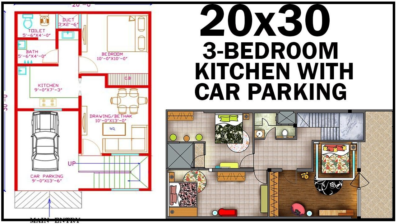 20 0 X30 0 House Plan With Interior 3 Bedroom With Car Parking Go In 2020 20x30 House Plans Unique Small House Plans House Plans
