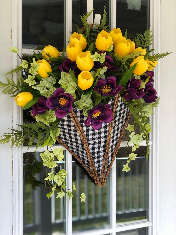 Photo of Spring Wreath, Umbrella Wreath, Spring Tulip Arrangement, Floral Umbrella Door hanger, Buffalo Plaid Umbrella, Spring Wreath for Front Door