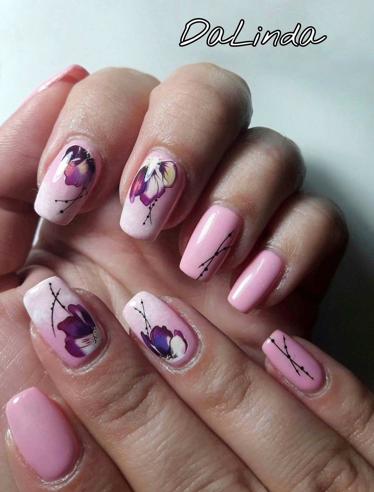 Baby boomer nail design. Flower nail art - water decals. | My nail ...