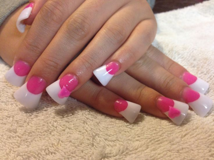 Hot Pink And White Acrylic Nails