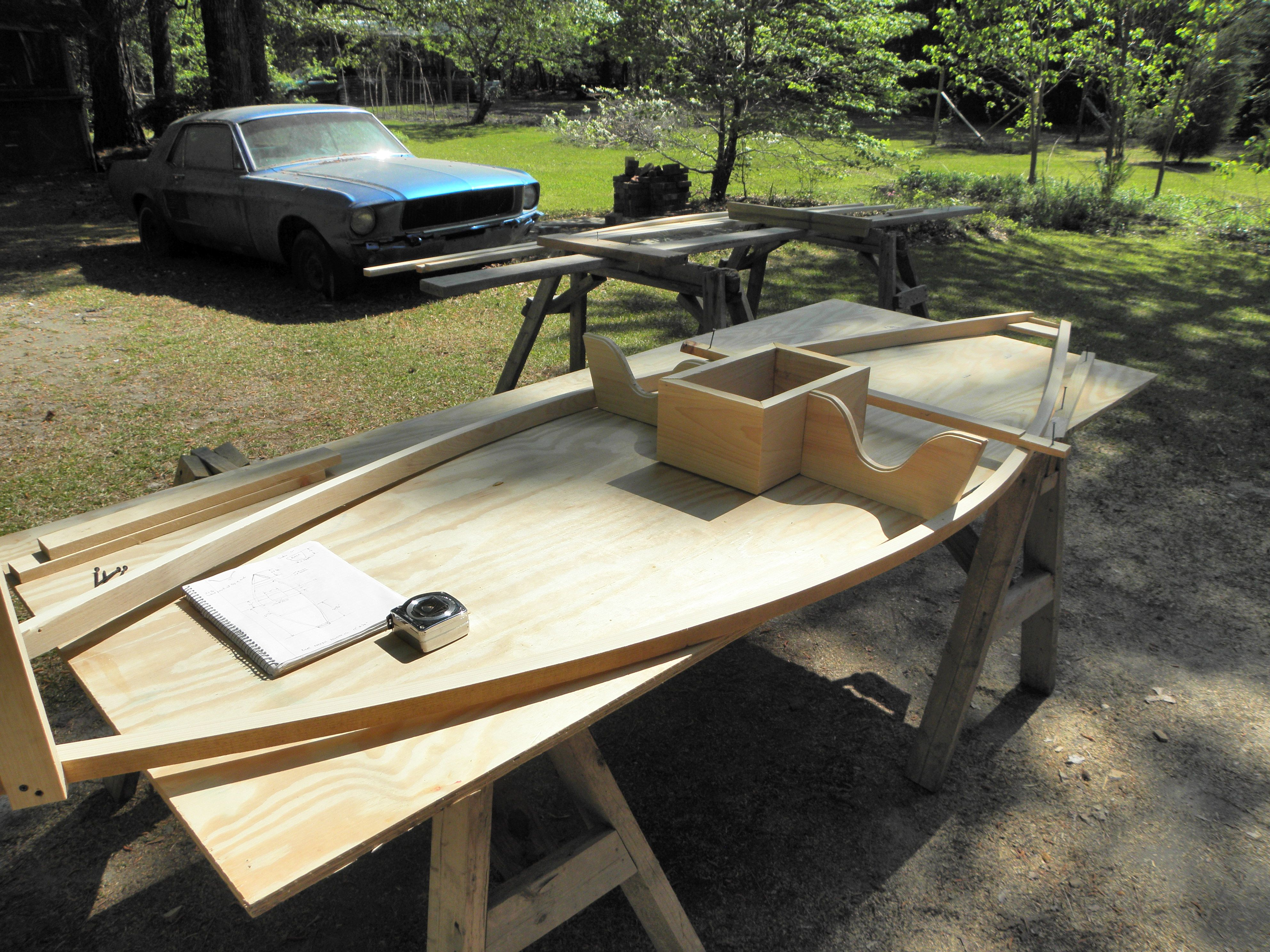 """Starting the frame for a """"sneak"""" boat. Cypress strips."""