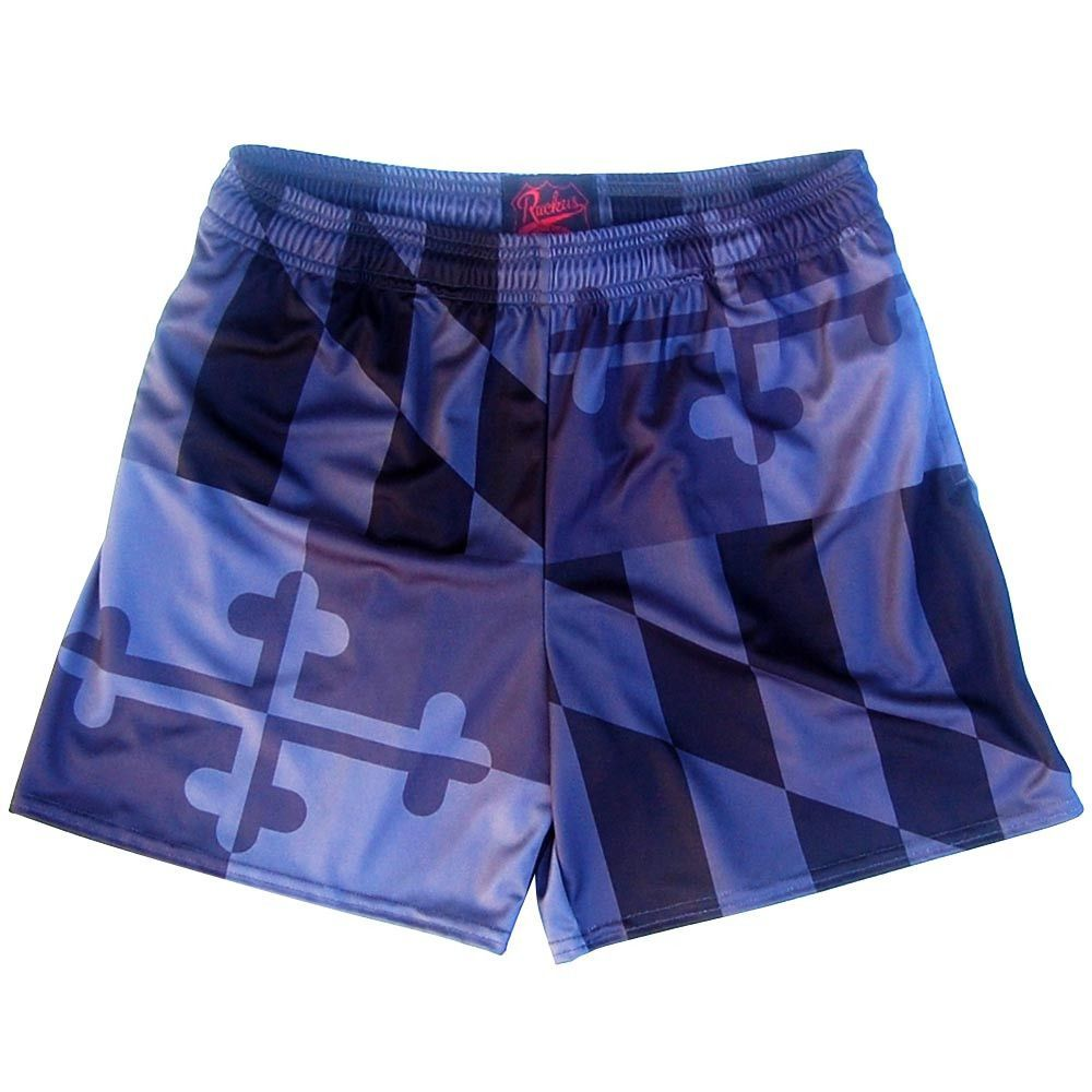 Maryland Flag Black Out Rugby Shorts Rugby Shorts Maryland Flag Rugby