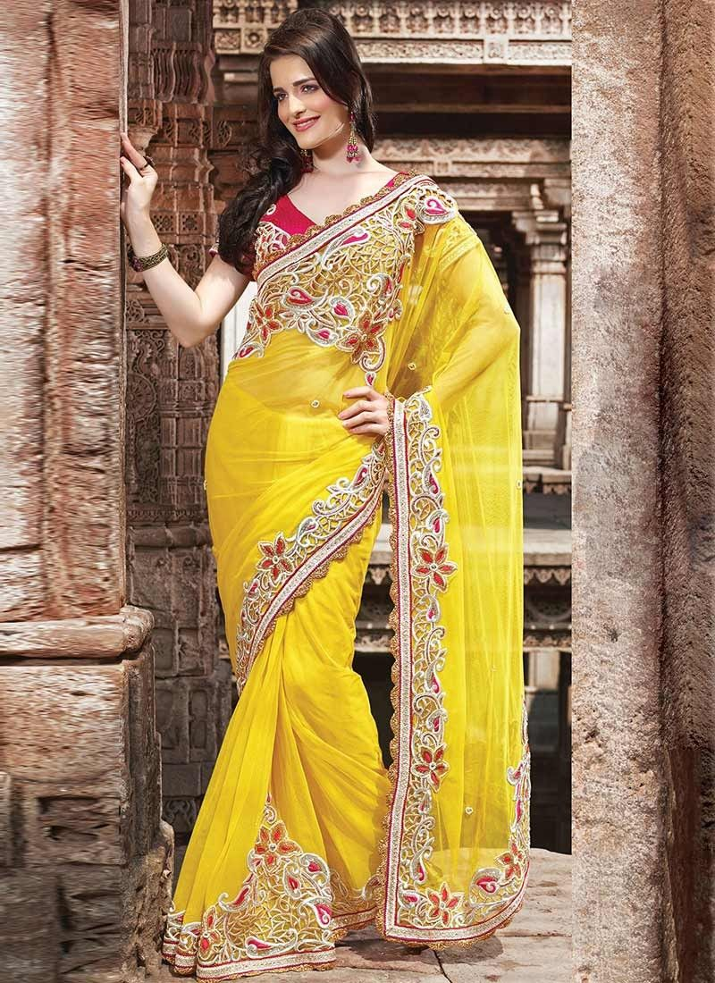 bcd53da65fd1 Charming #Yellow Buttis Net #Designe sAREE | Exquisite Sarees ...