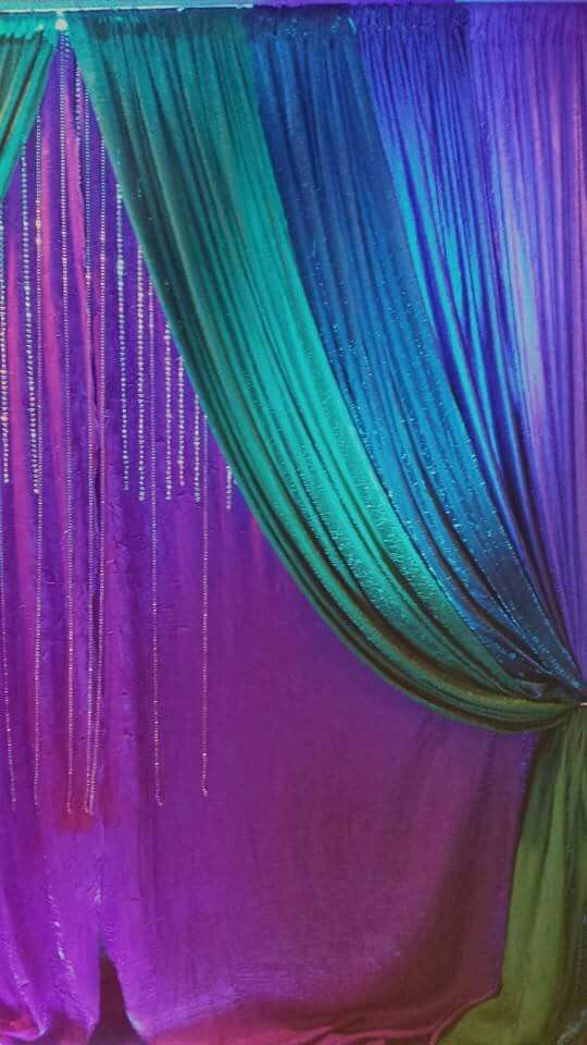 Peacock Themed Decoration Ideas Part - 36: Peacock Colors Curtain Backdrop Idea. For Any Party.