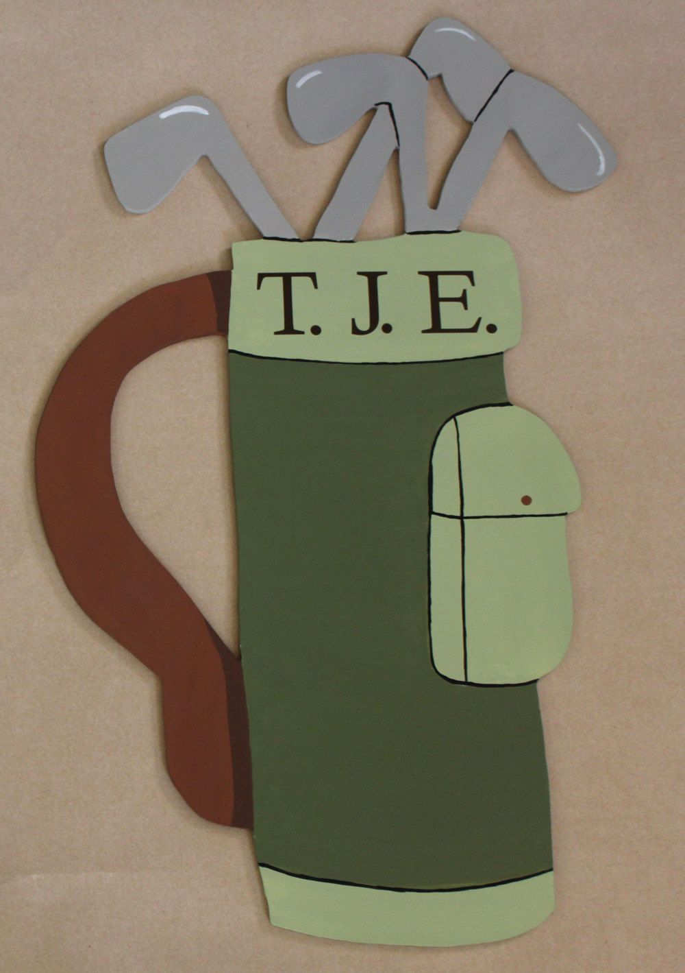 Golf Bag Wooden Mural Hand Cut And Hand Painted Custom