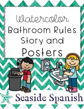 Bathroom rules posters all preschool tpt bathroom - Bathroom procedures for preschool ...