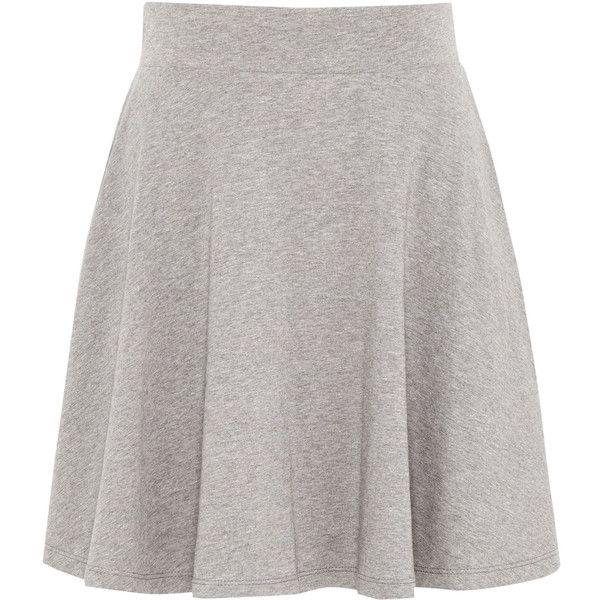 Pull & Bear Basic Skater Skirt (€4,75) ❤ liked on Polyvore featuring skirts, faldas, medium grey, cotton skater skirt, flared skirt, grey skirt, grey cotton skirt and gray skirt