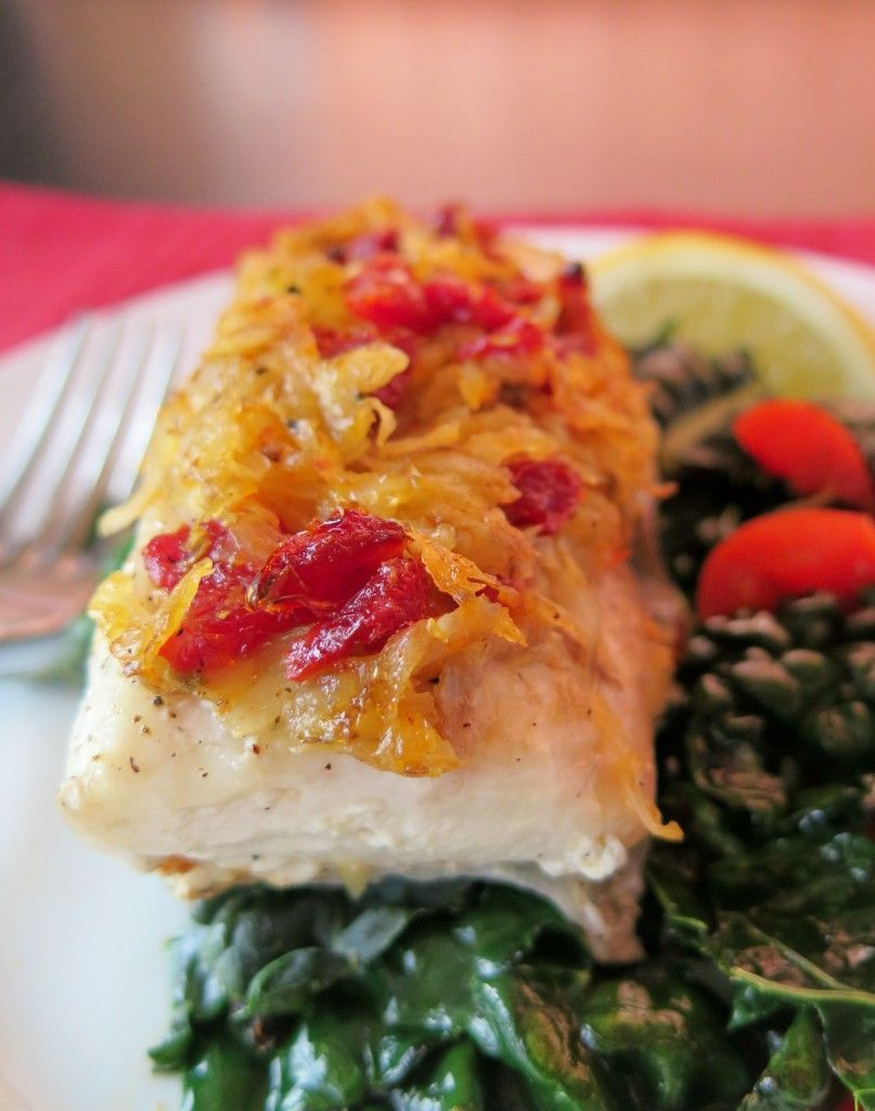 Sundried Tomato and Potato Crusted Baked Cobia on a bed