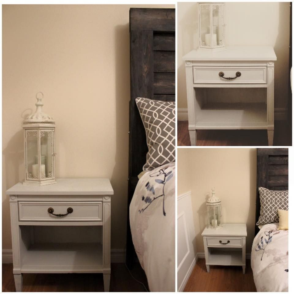 "re-styled bedside table by angela devries design, using Fusion's ""Champlain"". #fusionmineralpaint #champlain #upcycle #kawarthalakes #paintedfurniture #angeladevriesdesign"