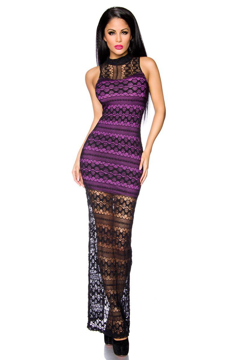 Abendkleid mit Spitze - schwarz/lila | Abendkleider | Kleider ...