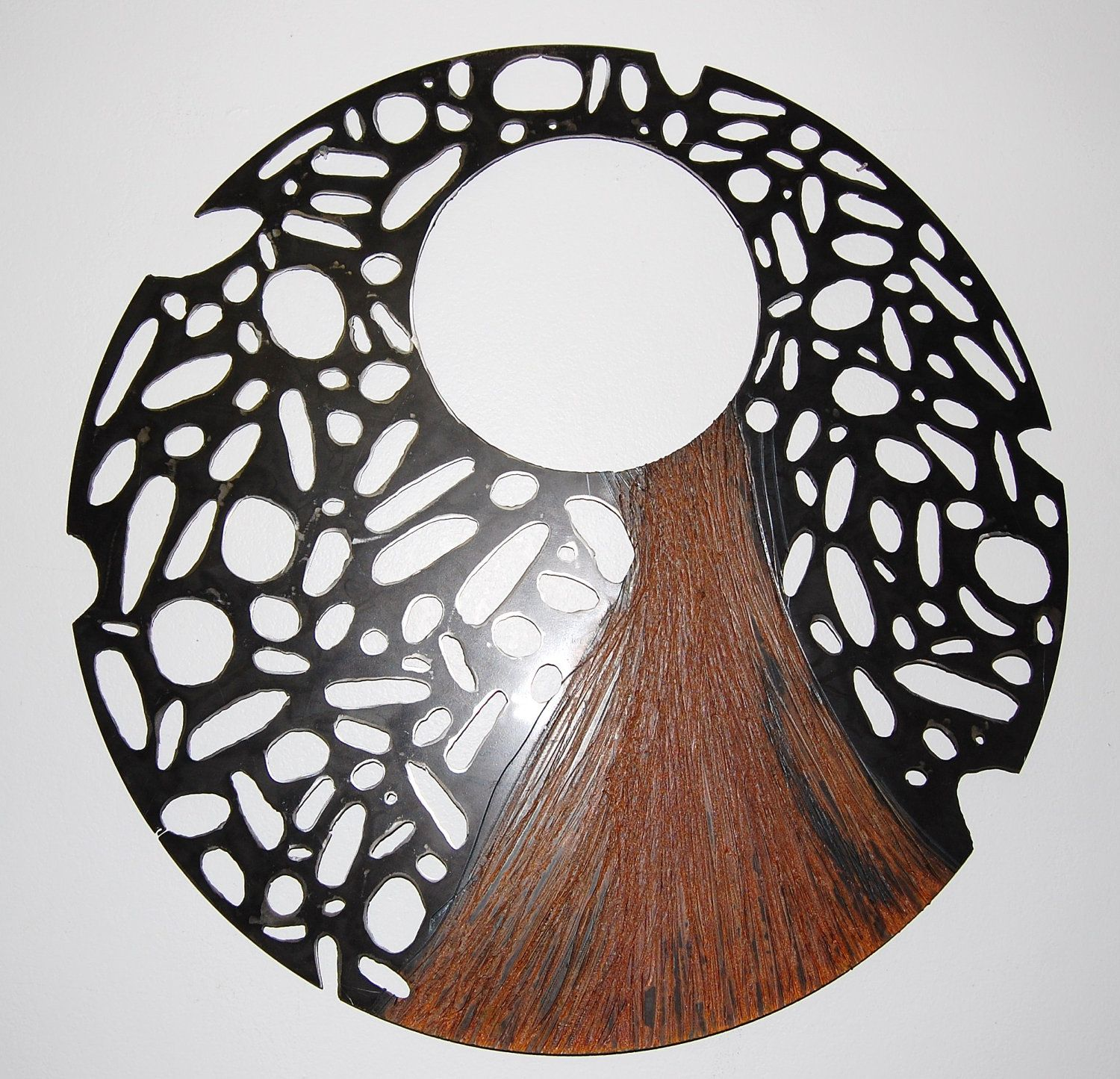 Large steel sculpturerecycled metal wall art round perforated