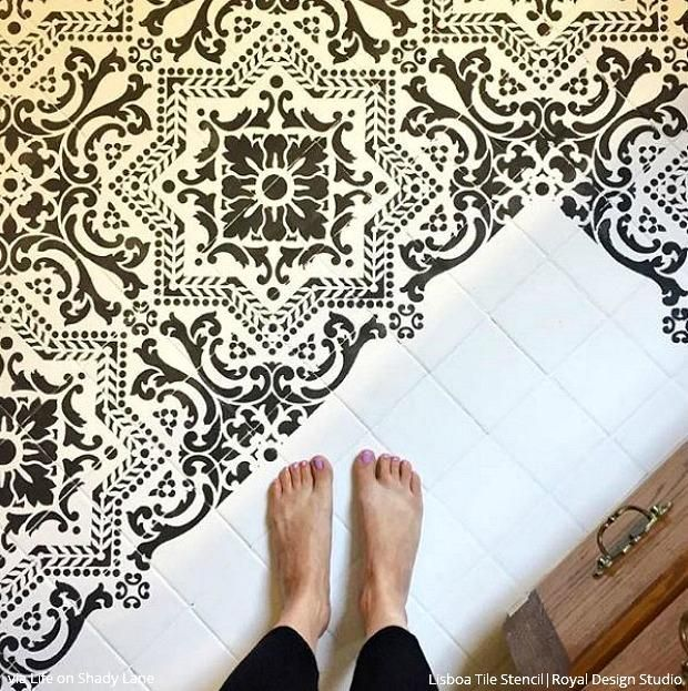 Does Floor And Decor Do Financing: Painted Tile Floor Stencils That Anyone Can Do