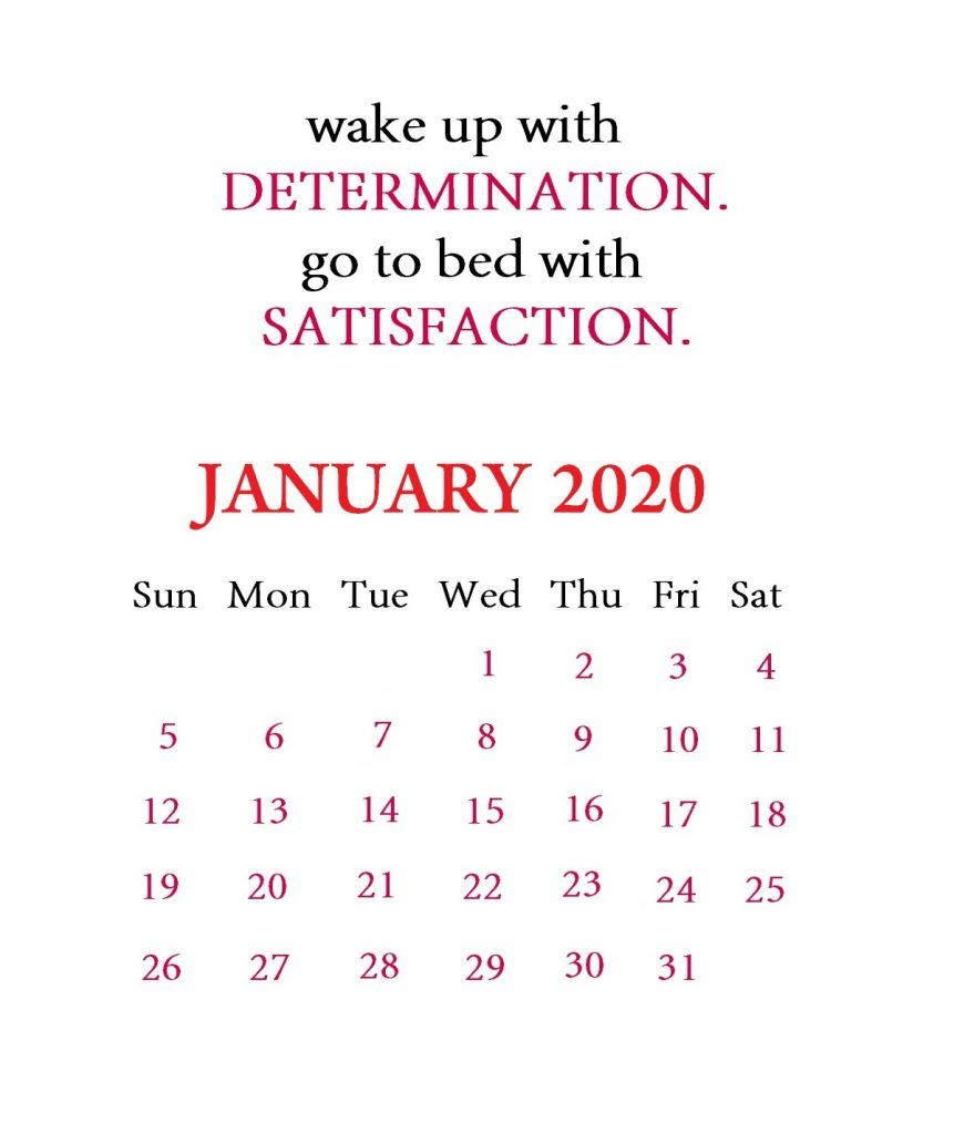 January 2020 Motivational Calendar Calendar Template Monthly Calendar Template Inspirational Quotes
