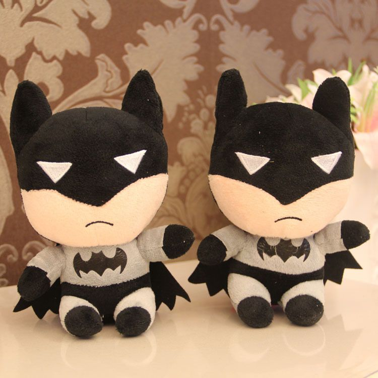 18 cm mini stuffed batman soft plush batman toys for baby's gift, 7inch plush cartoon batman toys, 2 pcs/set, free shipping $7.80