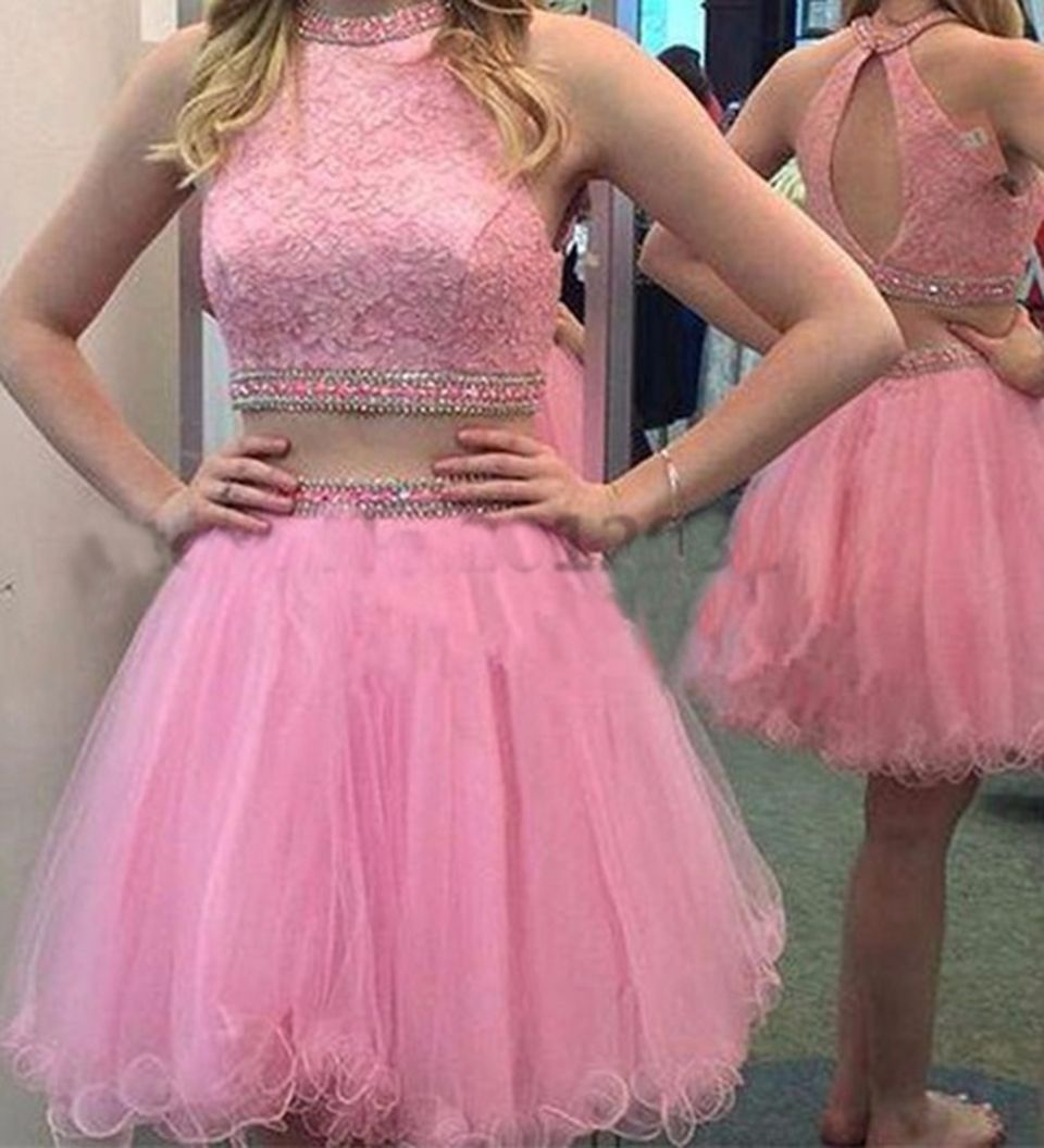 Pretty Short Pink Prom Dress Beaded Lace Two Piece Prom Dresses 2016 ...