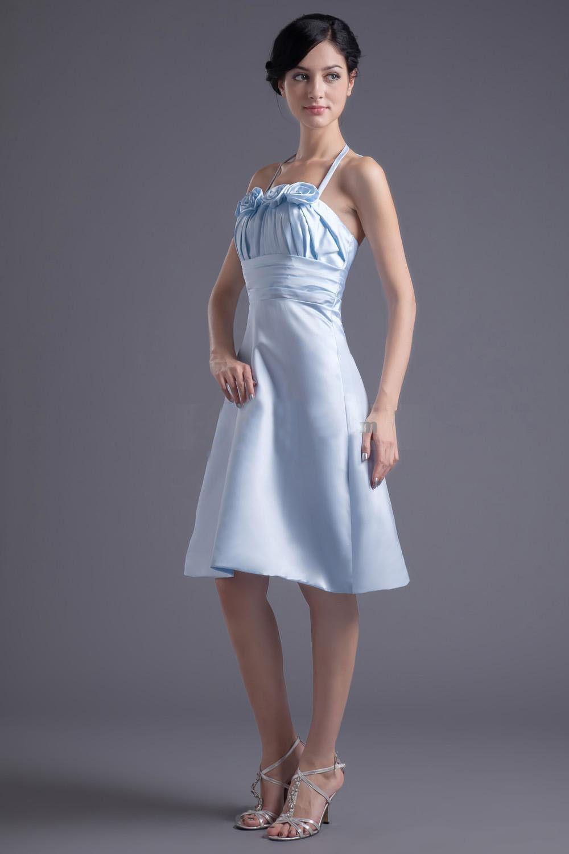 Light sky blue satin short aline dress dwd0906
