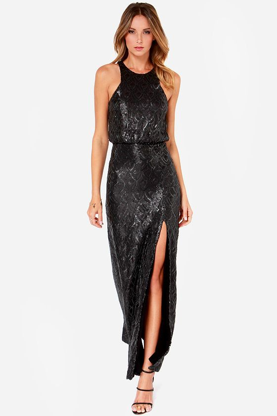 Line And Dot Monroe Black Sequin Maxi Dress Wardrobe Ideas