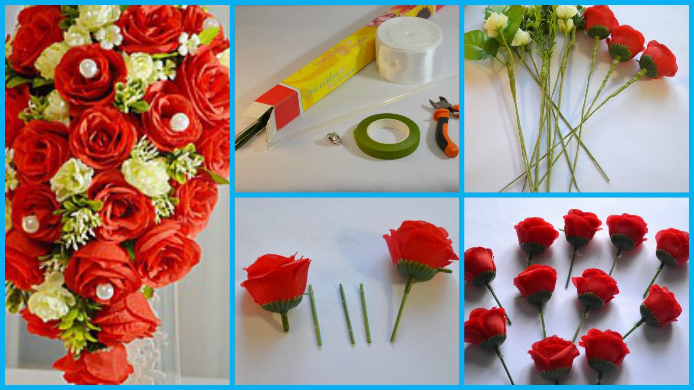 Create a cascading bouquet of artificial flowers (Tutorial