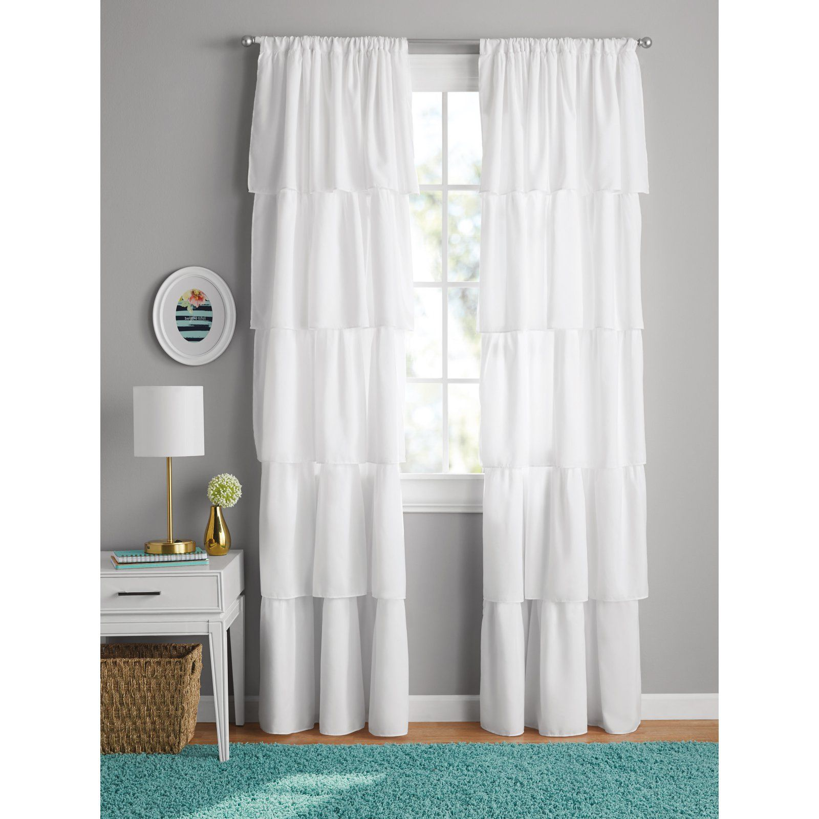 your zone ruffle girls bedroom curtain white products in 2019 rh pinterest com