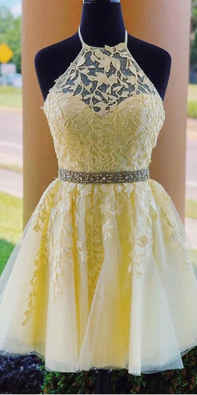 yellow lace fanshion dress,applique beaded halter homecoming dress from Leno Dress - Yellow homecoming dresses, Cute prom dresses, Cute homecoming dresses, Prom dresses yellow, School dance dresses, Sweetheart homecoming dress - inch waist