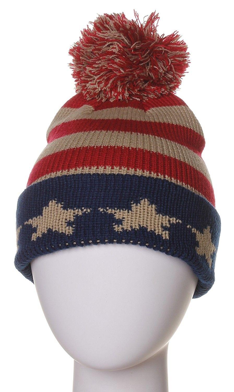 Block Letters Cuff Beanie Knit Pom Pom Hat Cap - Usa - C911P96HUR3 - Hats   8e0167bb1e64