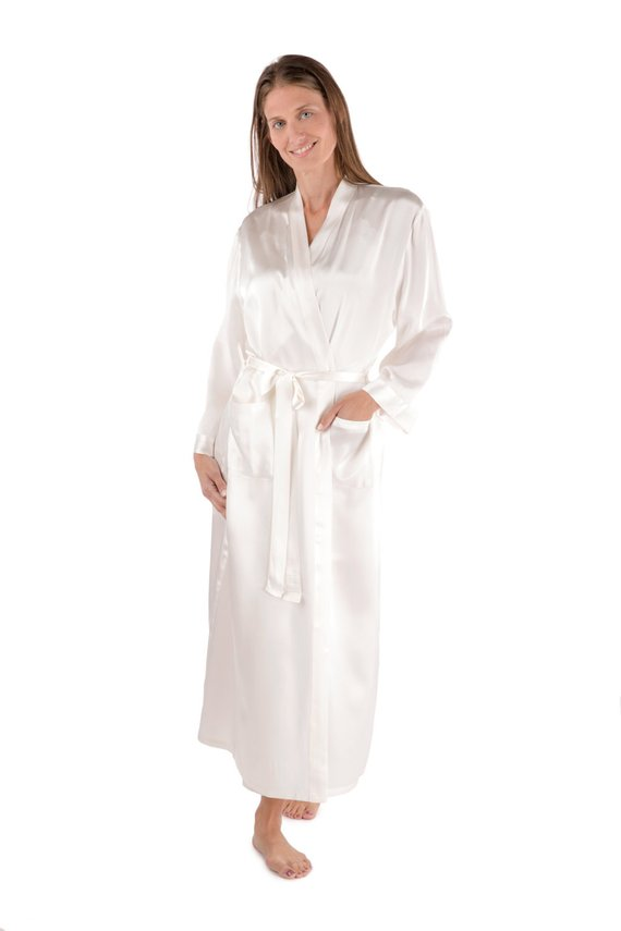 021f650a68 Bride s Pure Silk Dressing Gown Robe - Custom Embroidered Personalized