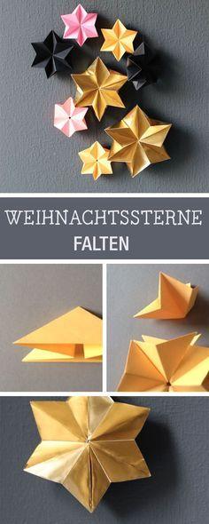 Basteln für Weihnachten: Sterne zum Aufhängen falten / crafting idea for chris…