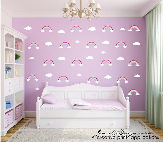 pink rainbow pattern wall stickers,repositionable fabric wall decals