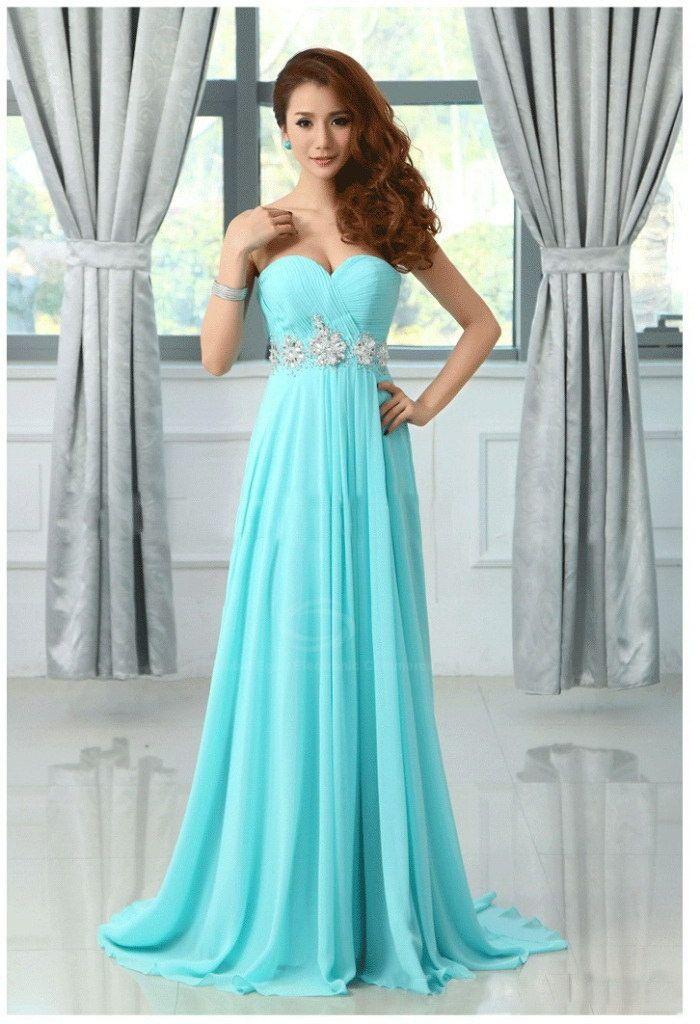 Elegant Rhinestone Embellished Sweetheart Neckline Sweep Train Evening Dress For Women (LAKE BLUE,26W) | Sammydress.com