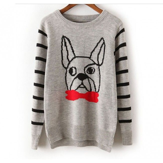 Lovely Striped Puppy Print Sweater for Women Free Shipping