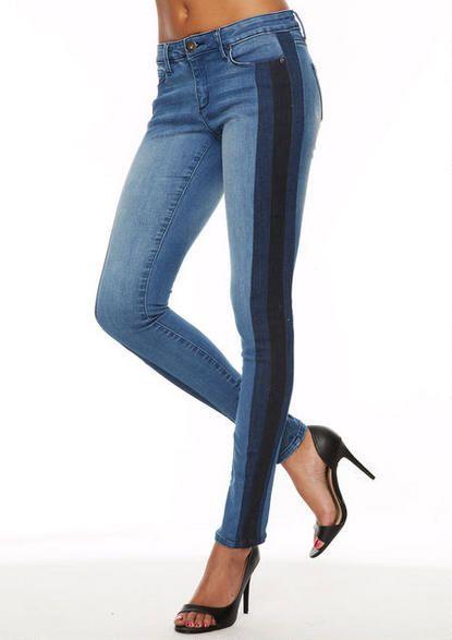 Blue Denim Colorblock Spoon Triple Tux Stripe Skinny Jeans  @ Alloy $40
