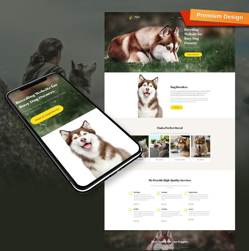 Pupper Responsive Website Template #dogs #dogtraining #dogbreeder ...
