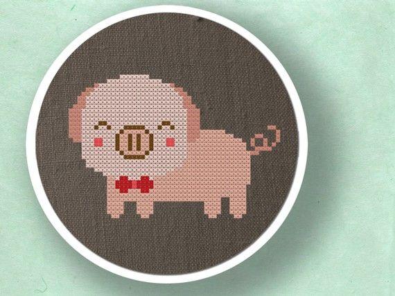 Cute Piggy. Cross Stitch PDF Pattern by andwabisabi on Etsy, $3.00