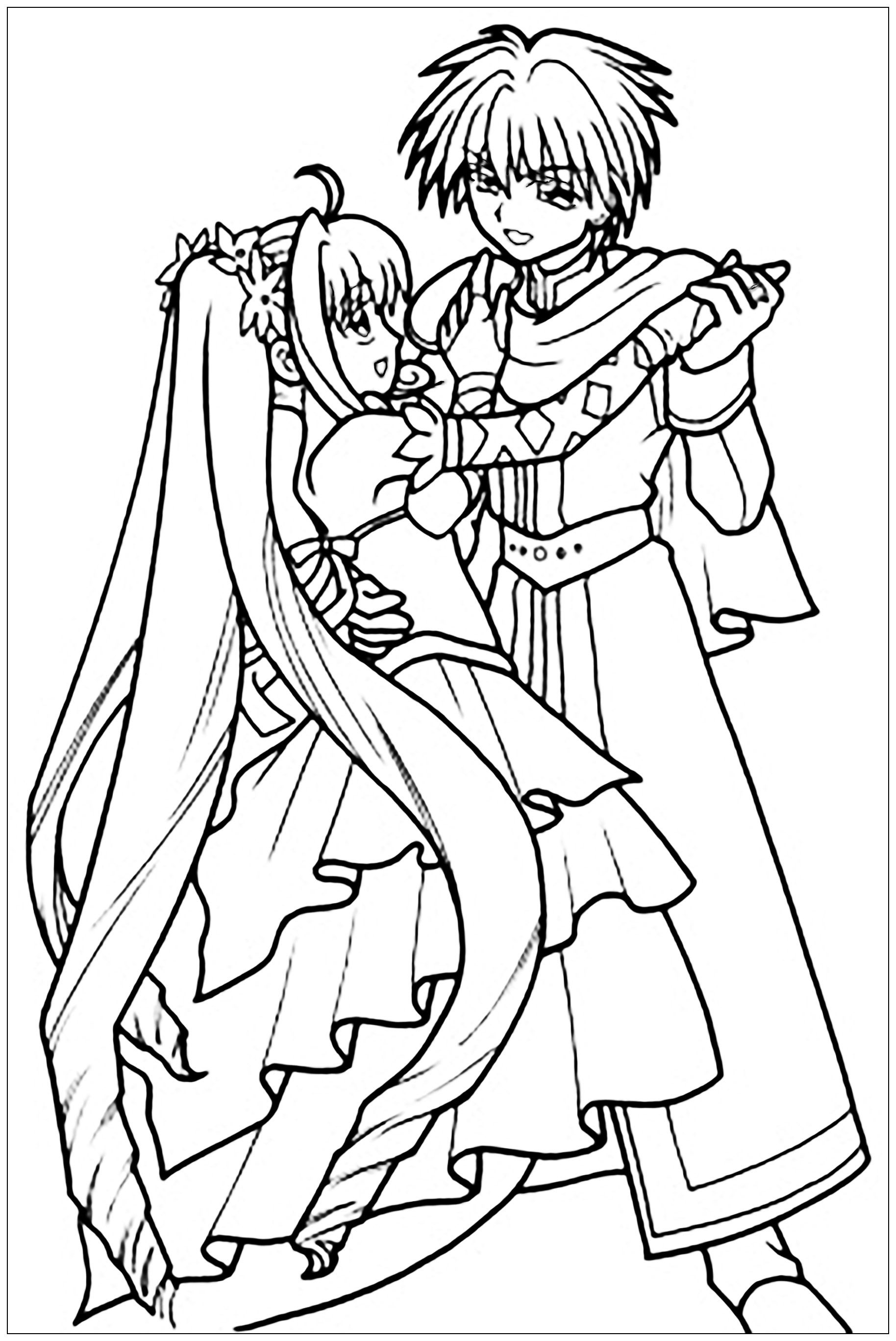 Manga Drawing Representing A Young Man And A Young Woman Dancing With Princess Dress And Beautiful Drawingfr Mermaid Melody Cool Coloring Pages Coloring Pages [ 2735 x 1828 Pixel ]