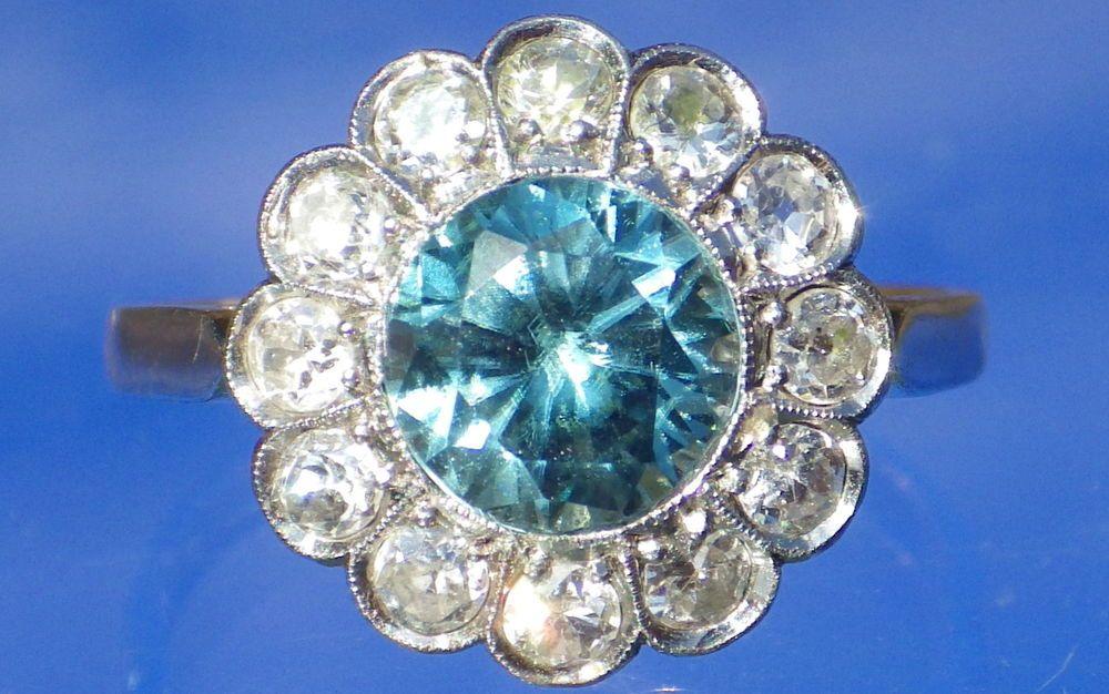 French Antique Art Deco Platinum Blue Zircon & Diamond Daisy 18ct Ring