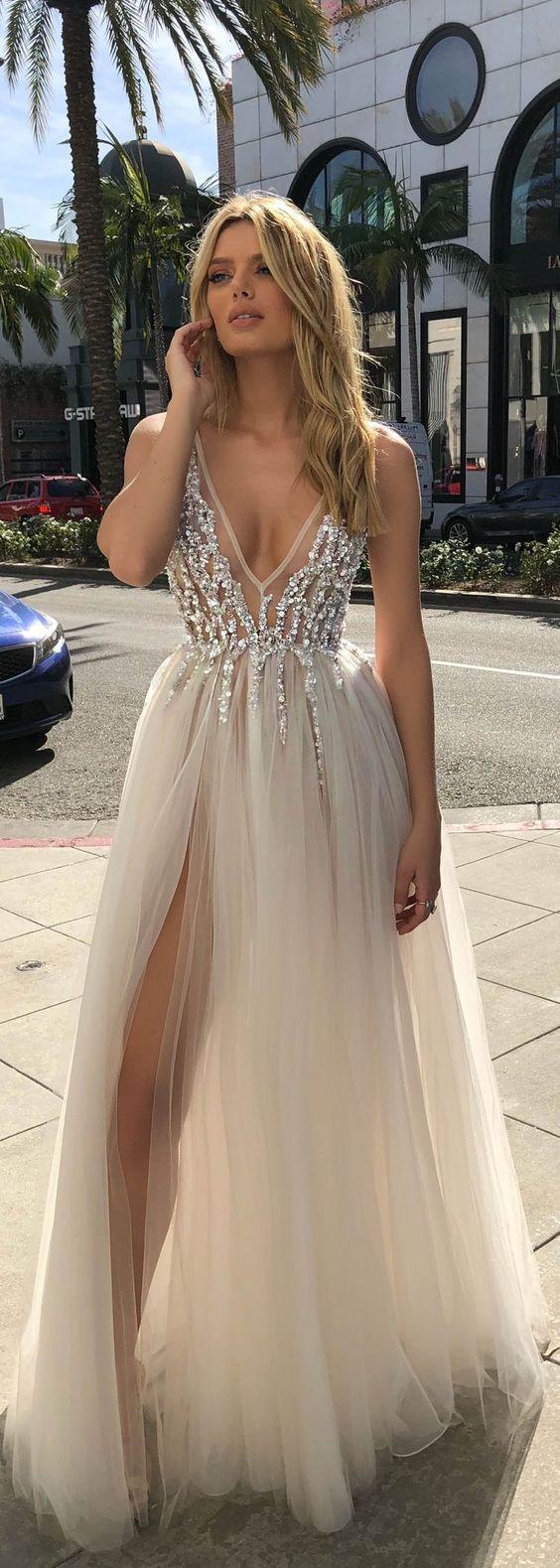 Aline deep vneck backless split sweep train grey prom dress with