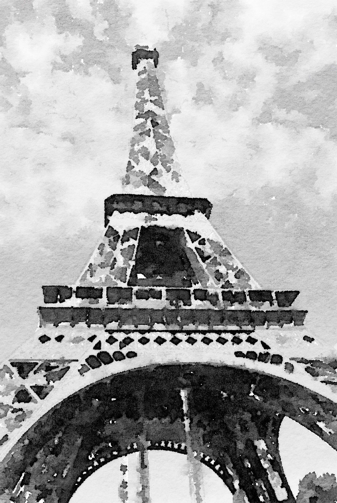 Eiffel Tower Watercolor Black And White Letters2me Media