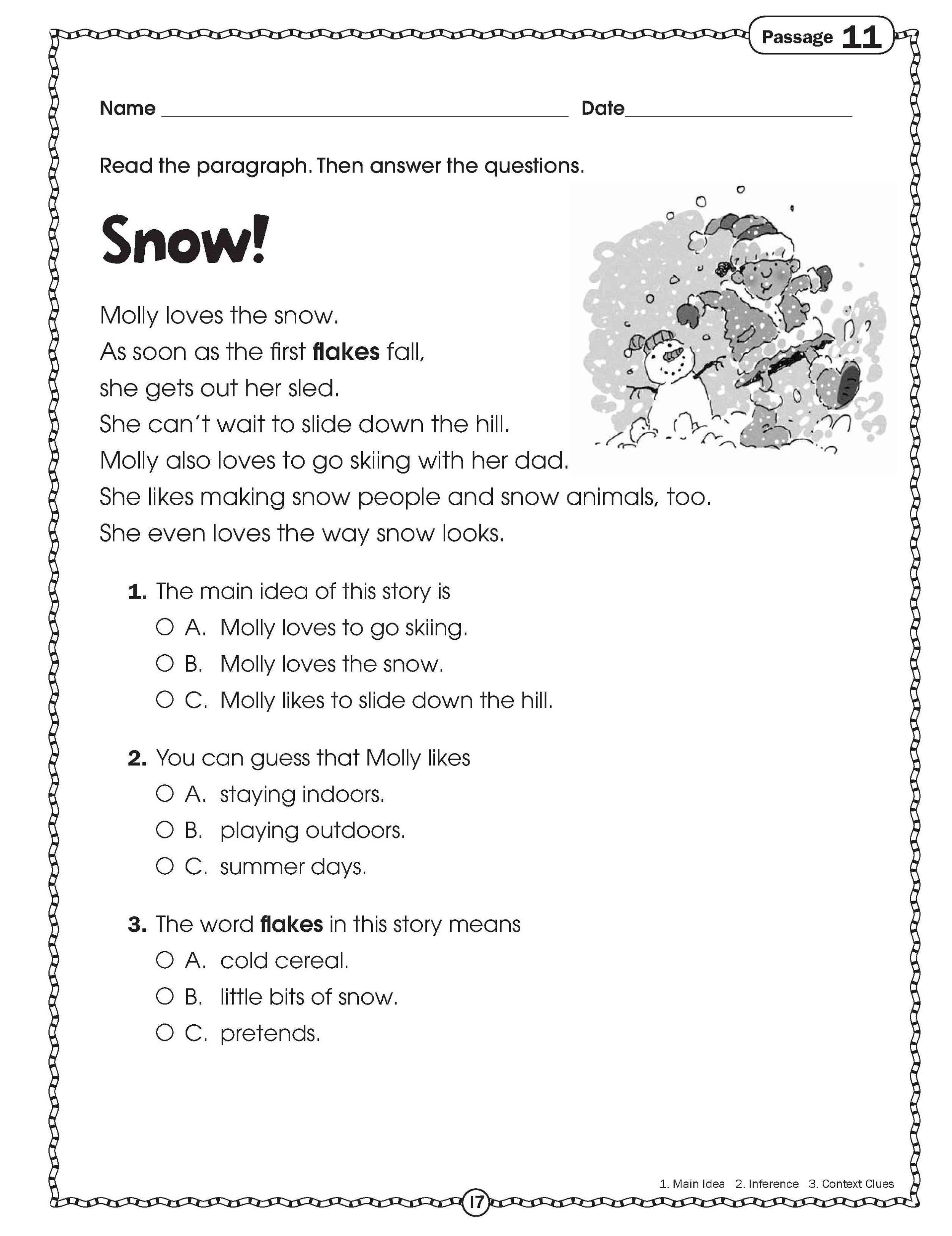 Free Handouts for Learning   Reading comprehension worksheets [ 3246 x 2500 Pixel ]