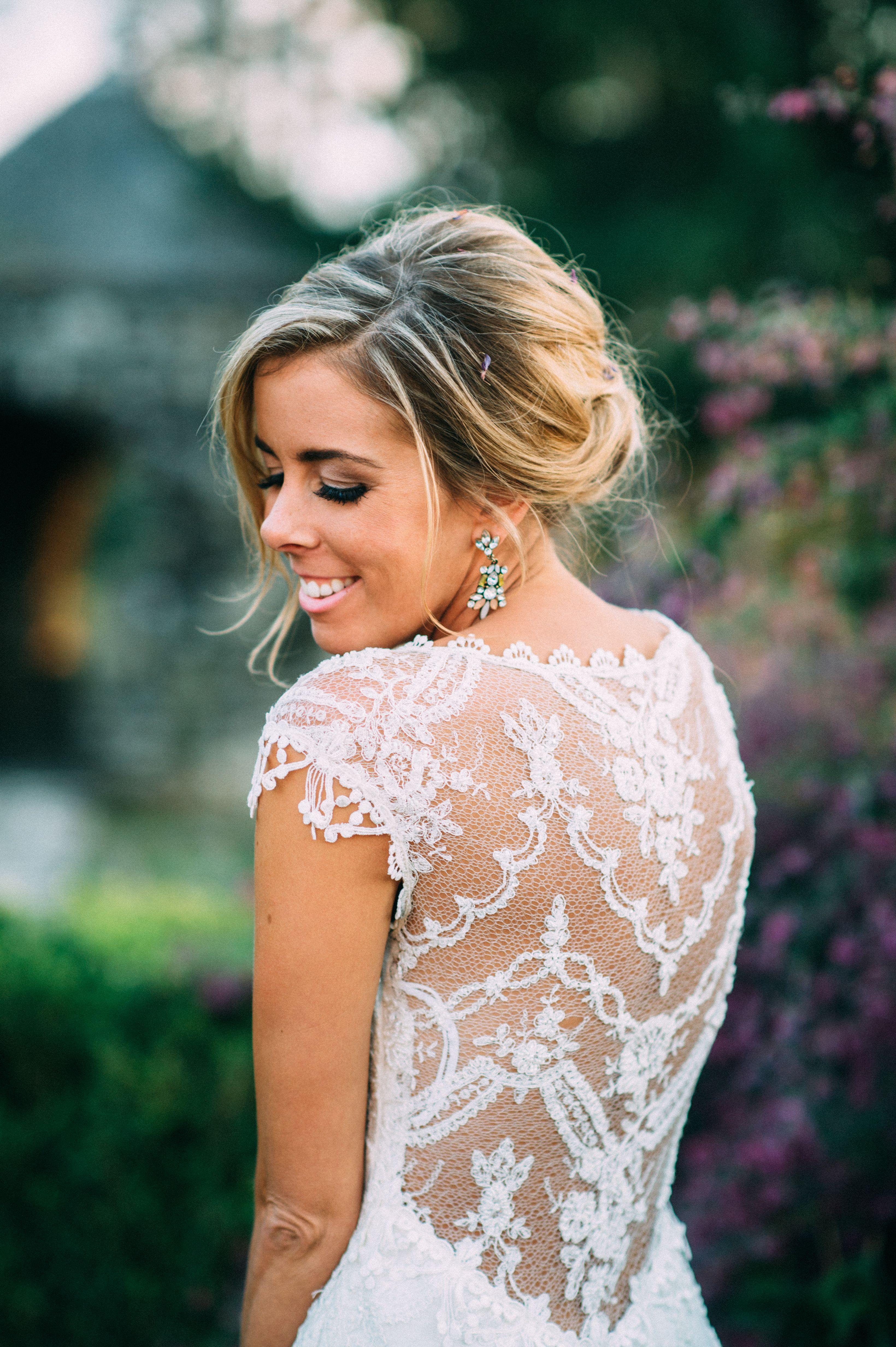 Chantilly lace illusion claire pettibone wedding dress wedding