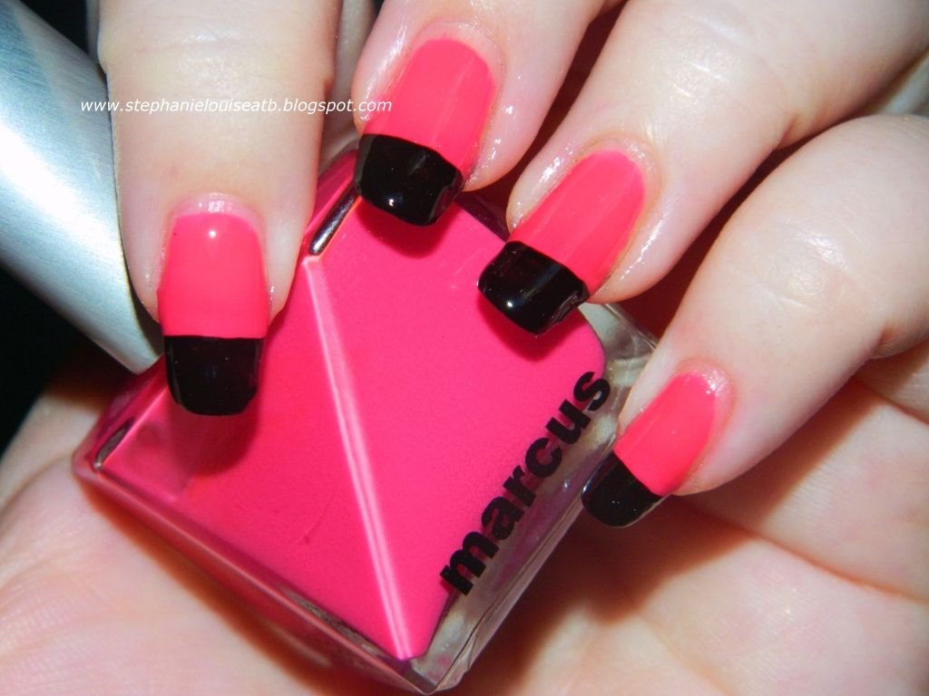 Hot pink nail polish with black french tips! | BEAUTY: All About ...
