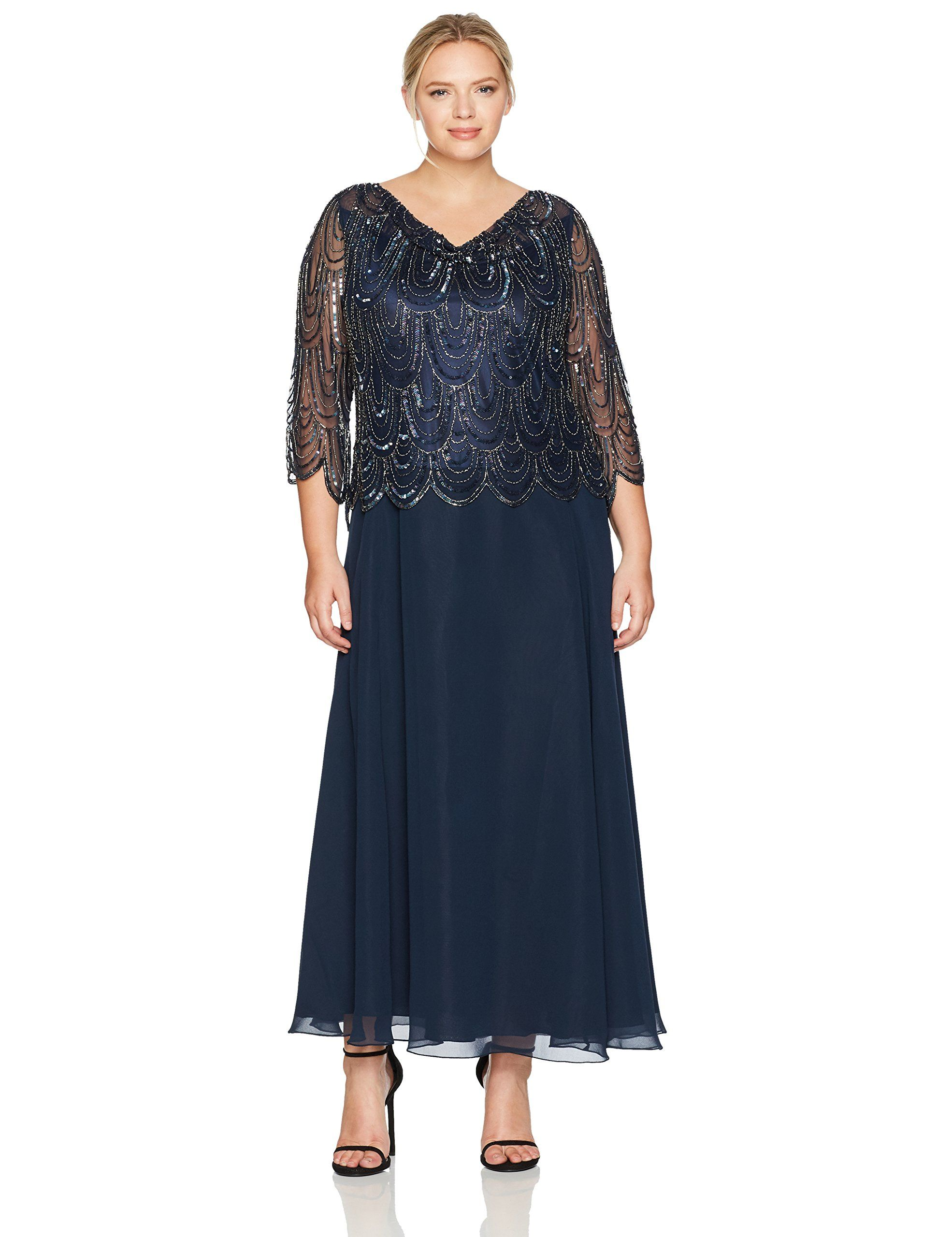 44d02031106 J Kara Womens Plus Size 3 4 Scallop Beaded Pop Over Gown Navy Mercury 16W  -- Check out this great product-affiliate link.  Dresses