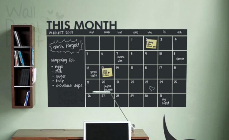 Bare ut Wallsticker - Kridt tavle kalender i vinyl | Idéer til huset WE-24