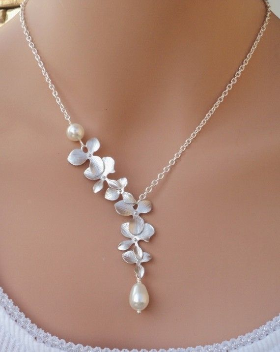 Silver Matte Orchids and Swarovski Pearl by RoyalGoldGifts on Etsy