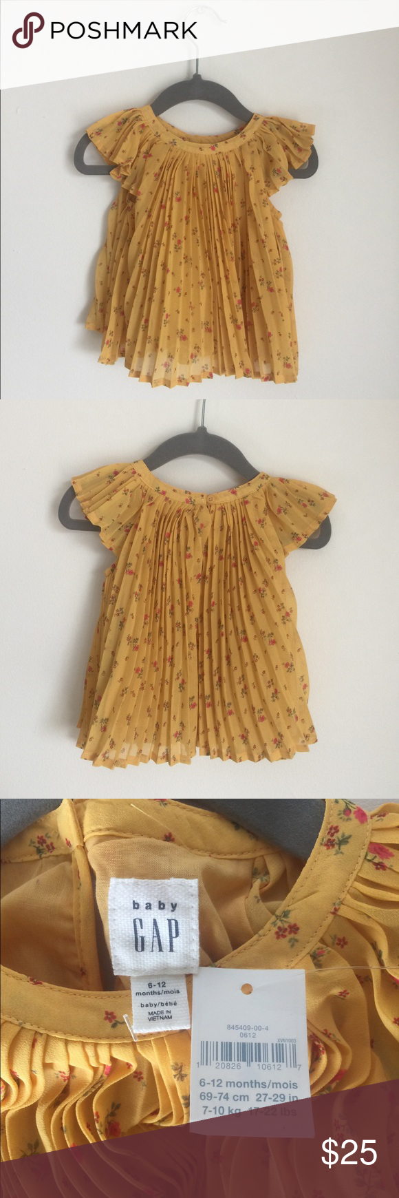 Yellow dress 3-6 months  GAP  NWT Pleated Floral Baby Ruffle Dress M NWT  Floral tunic