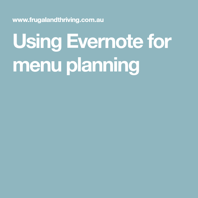 Using Evernote for menu planning