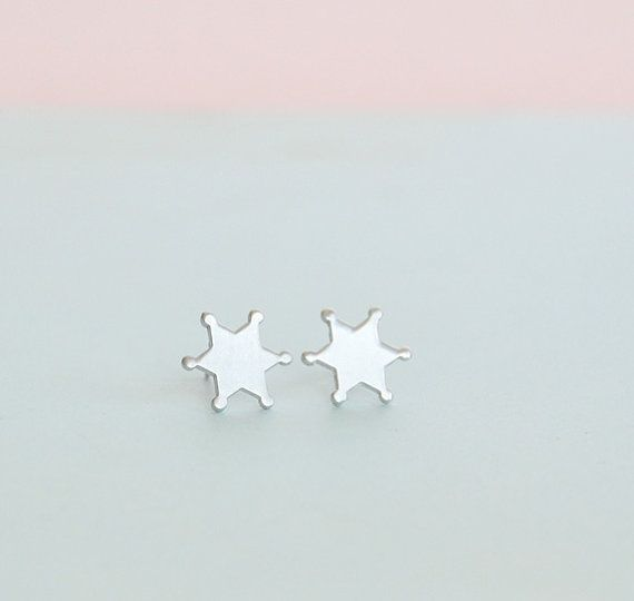 Tiny Sheriff Badge Stud Earrings in Silver by matoto on Etsy, $14.00